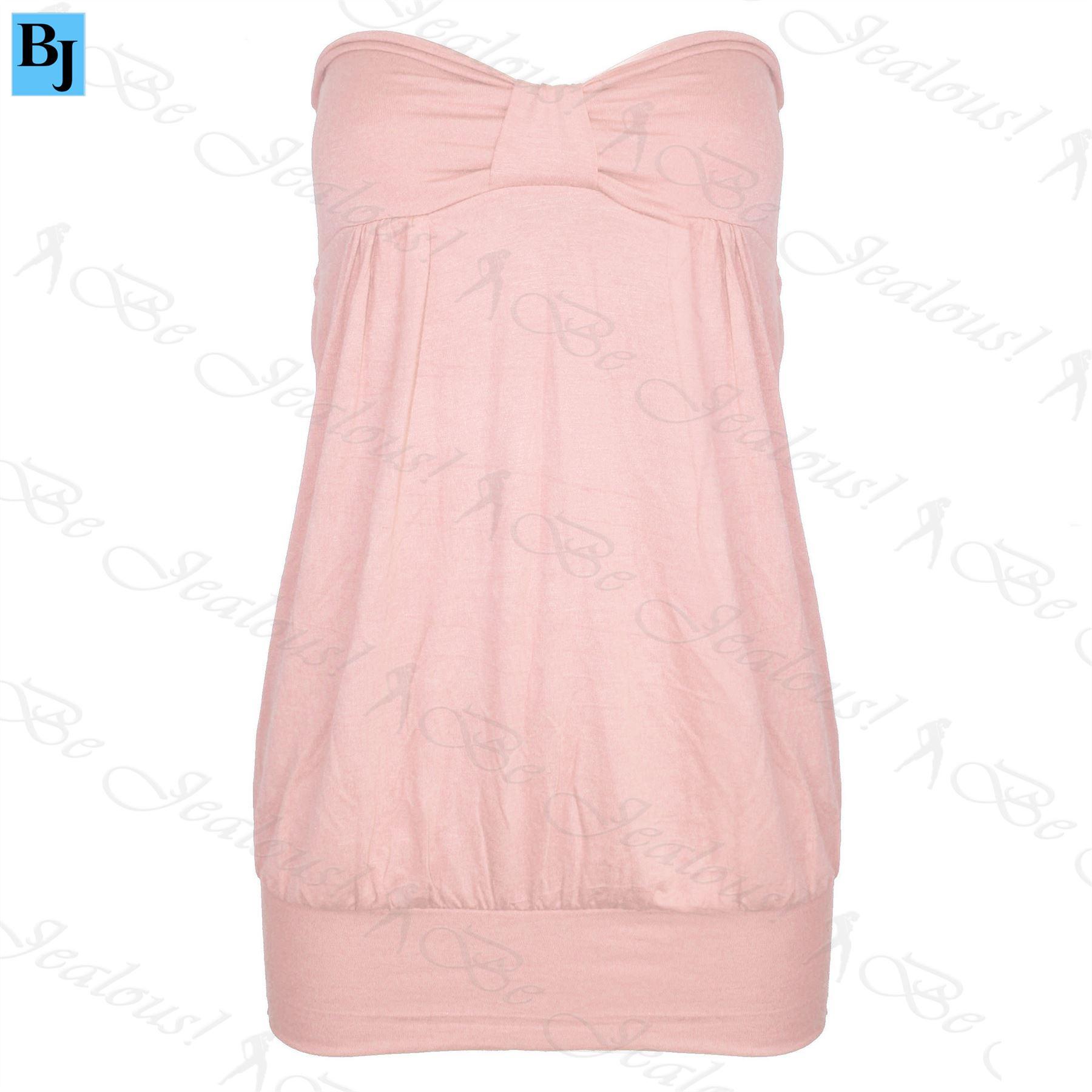 Womens Strapless Boobtube Top Ladies Summer Casual Plus ...