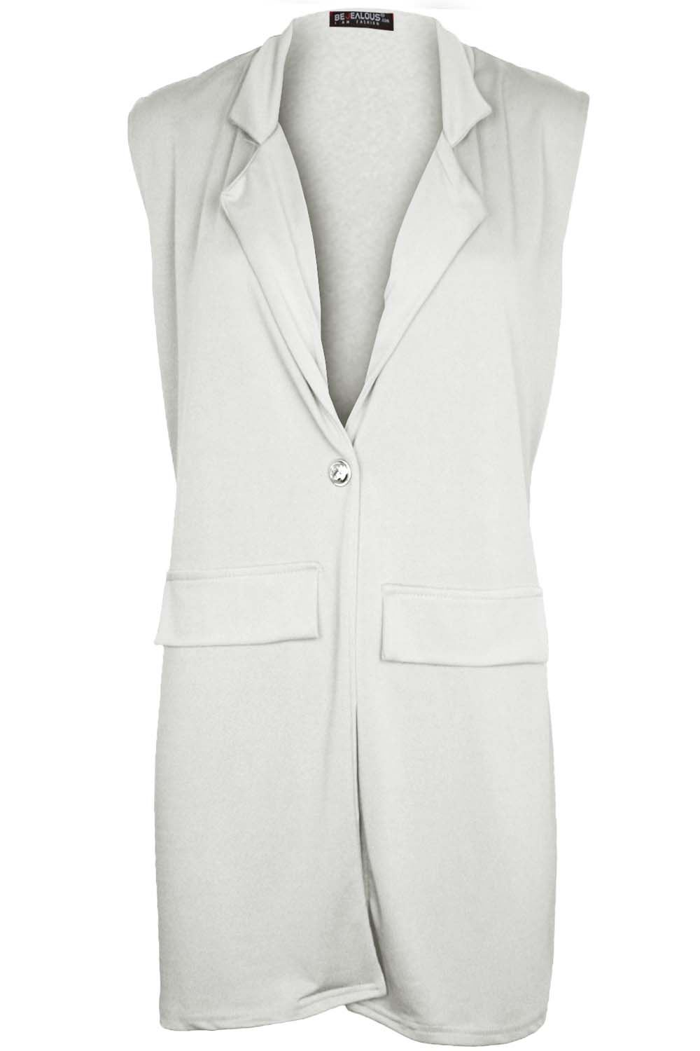 Women-Ladies-Sleeveless-Long-Duster-Coat-Collar-Waistcoat-Smart-Blazer-Plus-Size thumbnail 22