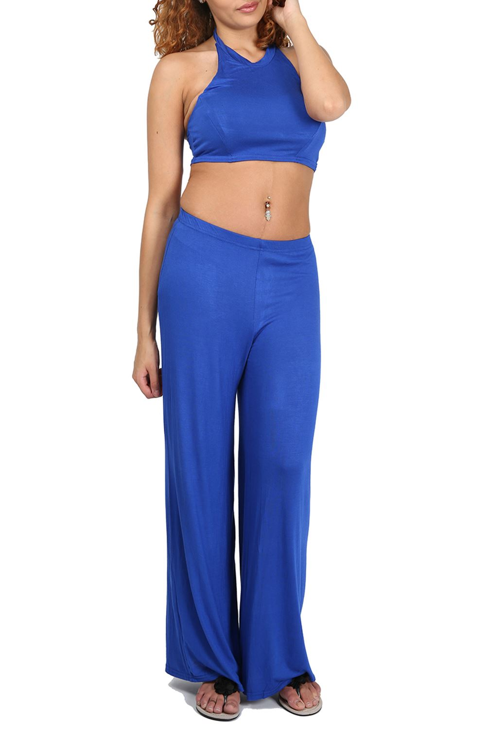 f7b3e5c59f Womens Co Ord Set Ladies Halter Neck Crop Top Wide Loose Palazzo Pants 2  Piece