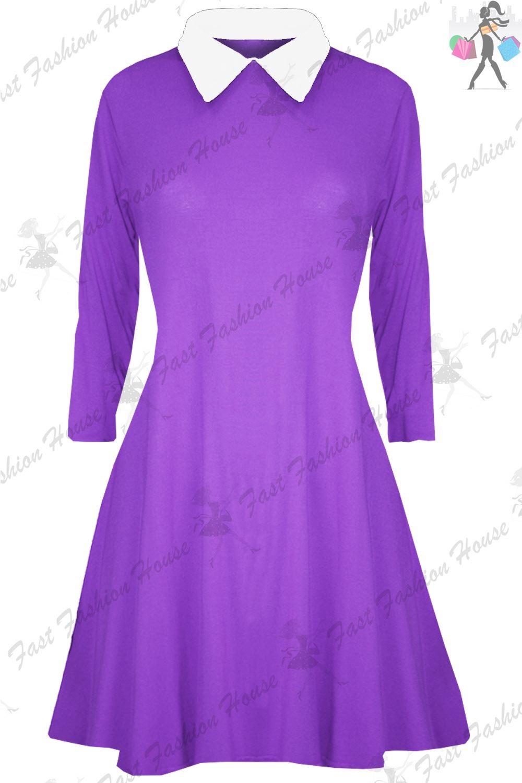 Para Mujer Vestido de swing Damas Cuello Peter pan Mangas Largas ...