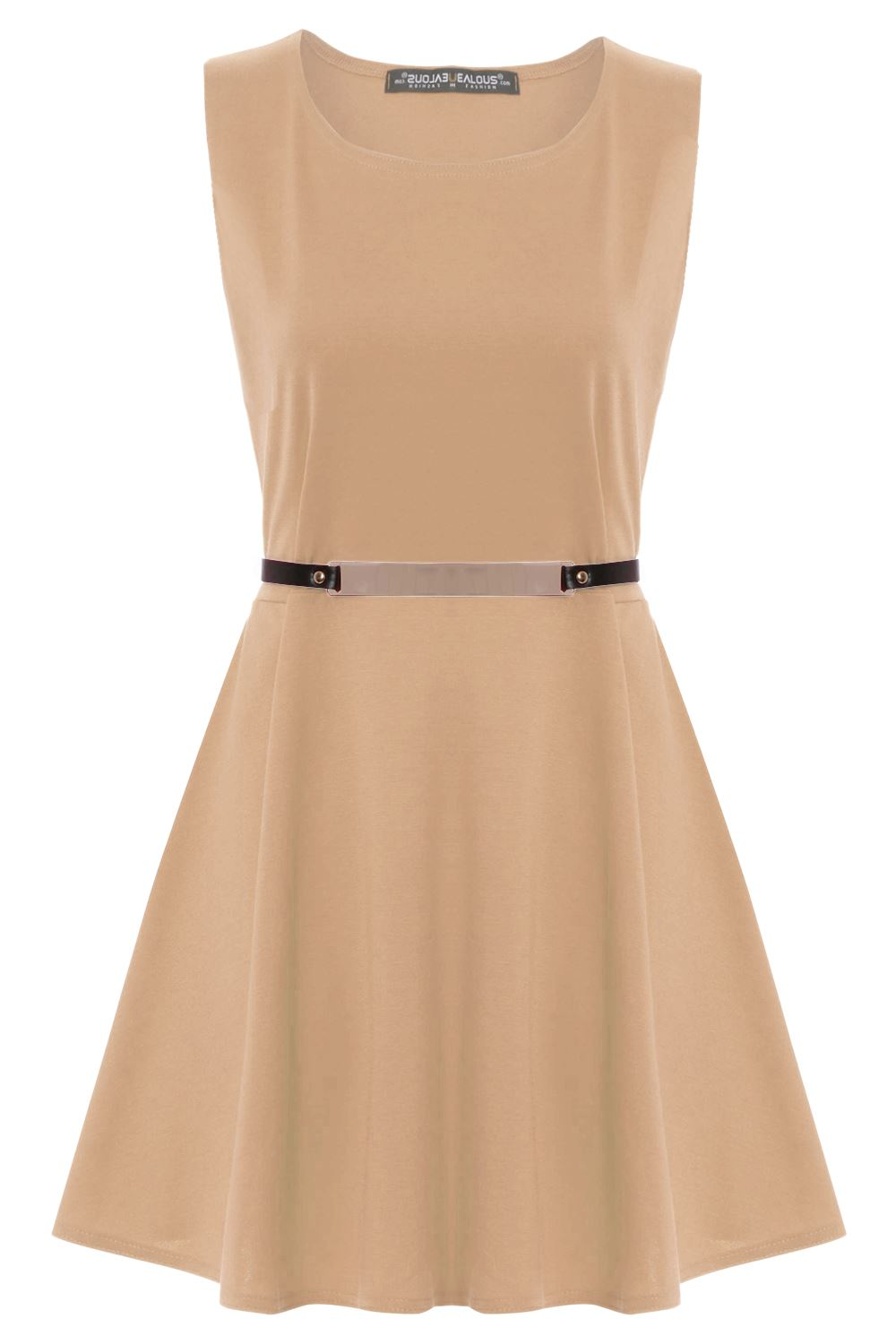 Womens-Ladies-Sleeveless-Party-Skater-Dress-Flared-Franki-Gold-Belted-Plus-Size