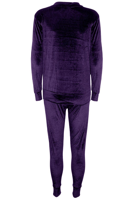 Womens Ladies Velvet Velour Long Sleeve Joggers Loungewear 2 PCS Tracksuit Set