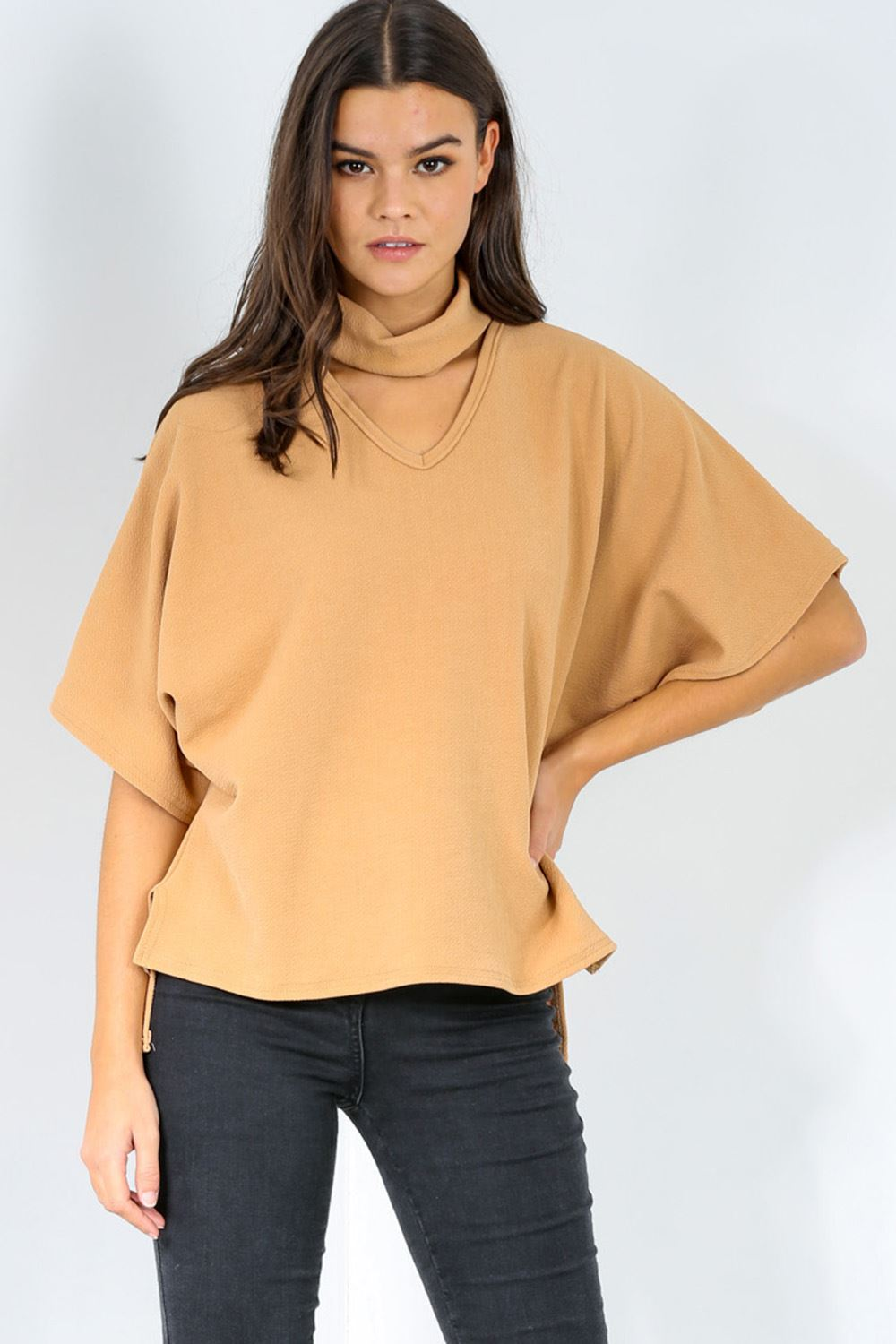 Womens ladies baggy oversized choker neck batwing high low for Low neck t shirts women s