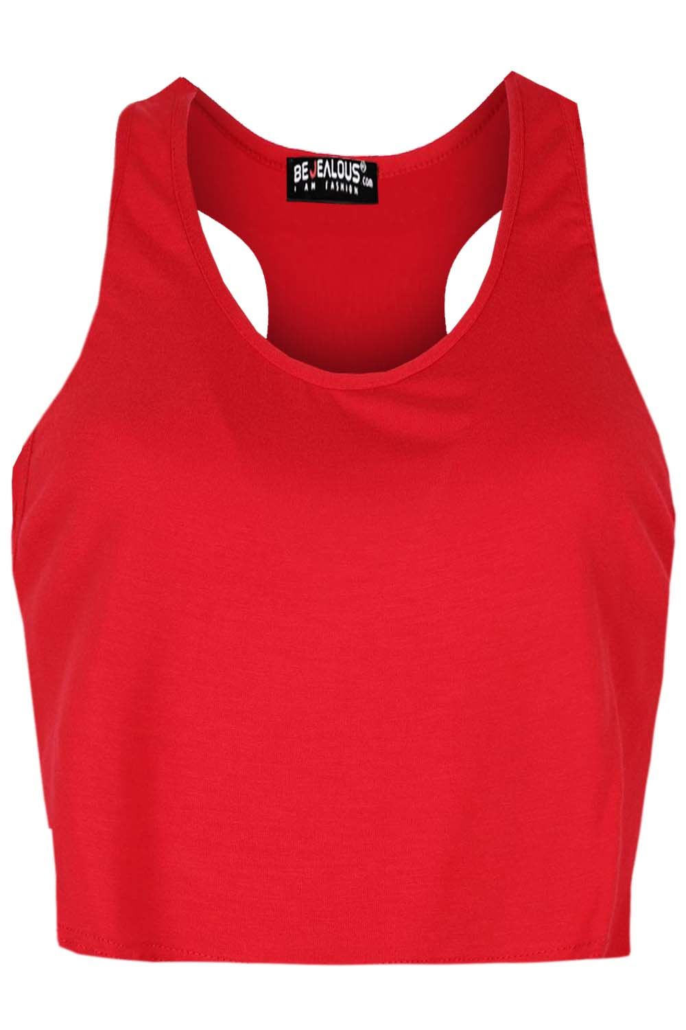 0fa5aed74f4 Ladies Womens Plain Muscle Racer Back Deep Cut Out Side Tank Crop ...
