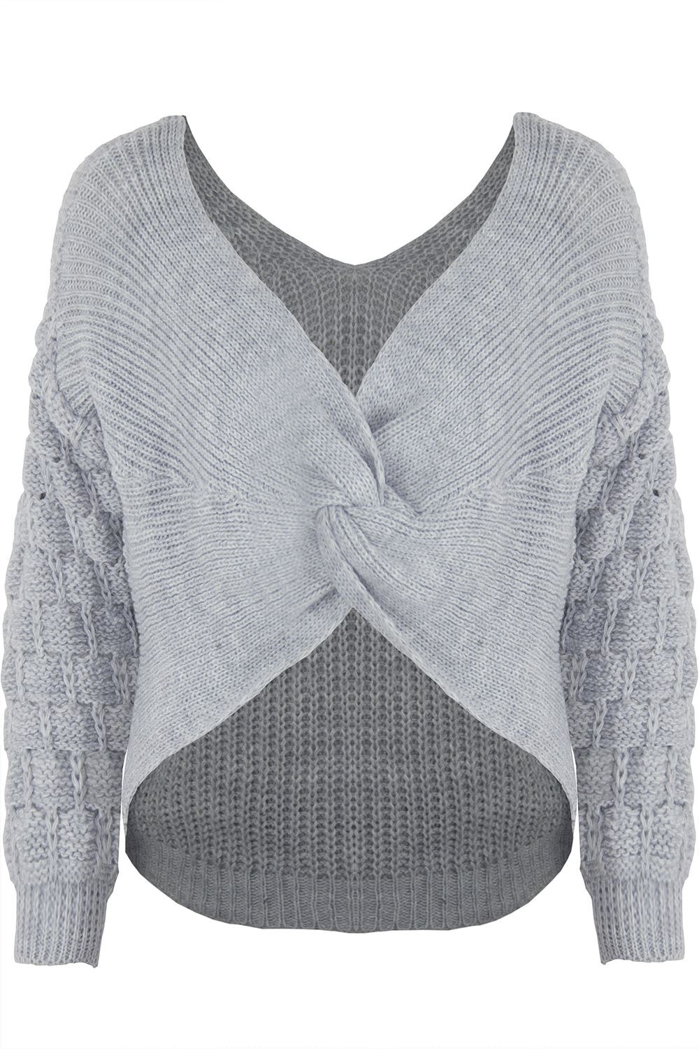 Womens-Ladies-Twisted-Knot-Front-Slouch-Fit-Bubble-Sleeve-Baggy-Oversized-Jumper thumbnail 19