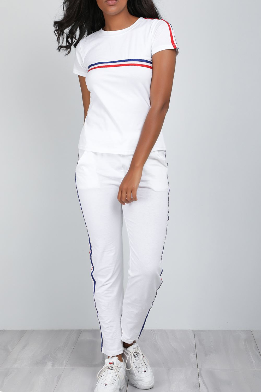 Womens Ladies Sweatshirt Striped Top Pants Tracksuit Cap Sleeve Lycra 2 Piece