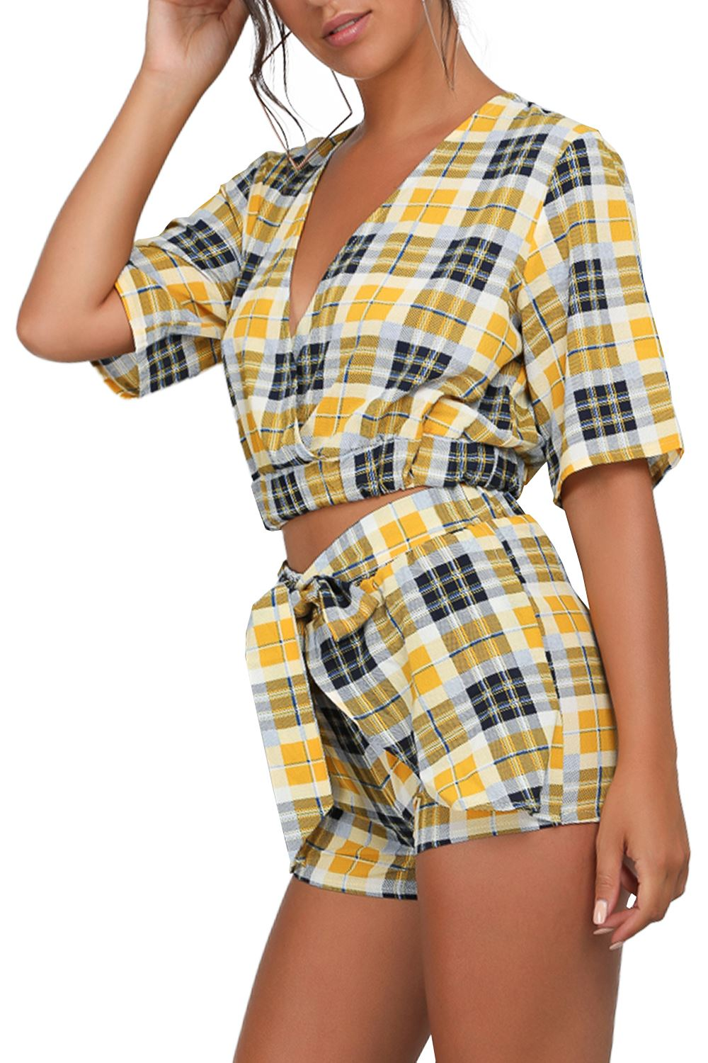 Womens-Short-Sleeve-Tartan-Stipes-Deep-V-Plunge-Top-Tie-Knot-Belted-Co-Ord-Set thumbnail 3