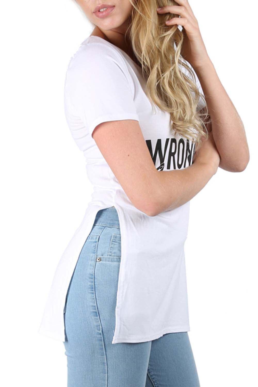 Womens Ladies Side Slit Split Printed Slogan Logo Tunic
