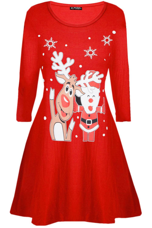 Womens-Ladies-Christmas-Xmas-Santa-Face-Gifts-Reindeer-Flared-Swing-Mini-Dress thumbnail 5