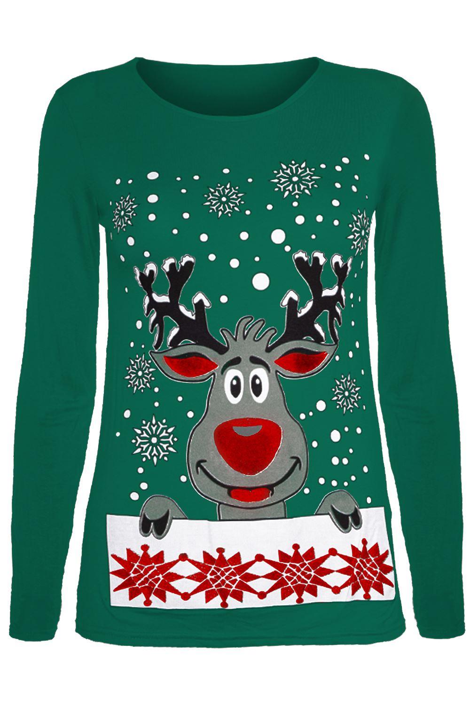 Womens Ladies Christmas Reindeer Pudding Snowflakes Xmas