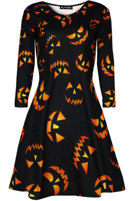 2acea69730a4 Womens Ladies Scary Halloween Smock Spider Pumpkin Smock Swing ...