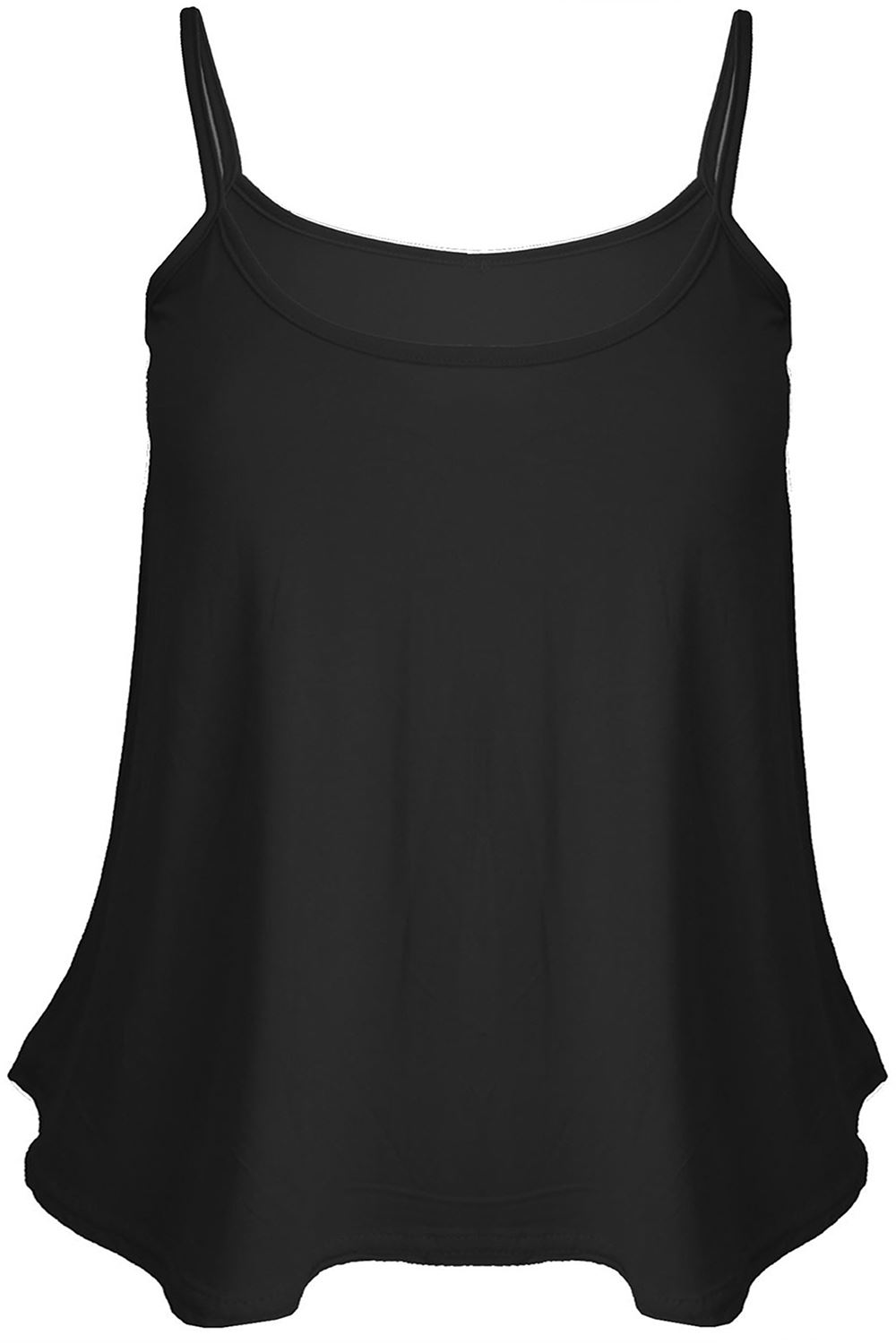 Ladies Women Plus Size New Camisole Cami Plain Printed Strappy Swing Vest Top Flared Sleeveless