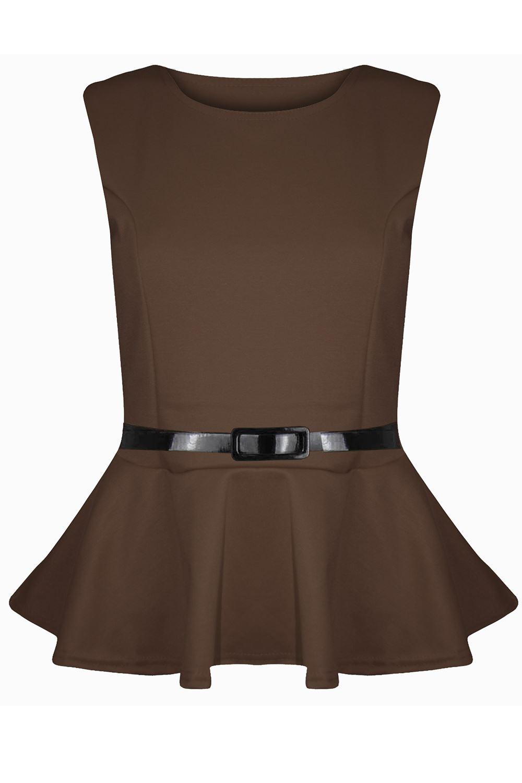 New-Womens-Plus-Size-Peplum-Top-Ladies-Sleeveless-Belted-Frill-Skater-Mini-Dress