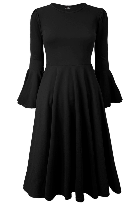 Womens-Ladies-Bell-Long-Frill-Sleeve-Flared-Round-Neck-Skater-Swing-Midi-Dress