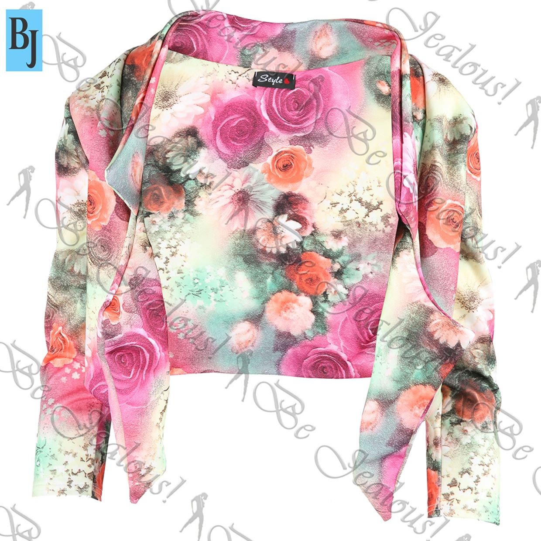 Womens-Waterfall-Ladies-Open-3-4-Sleeve-Floral-Print-Short-Crop-Jacket-Blazer