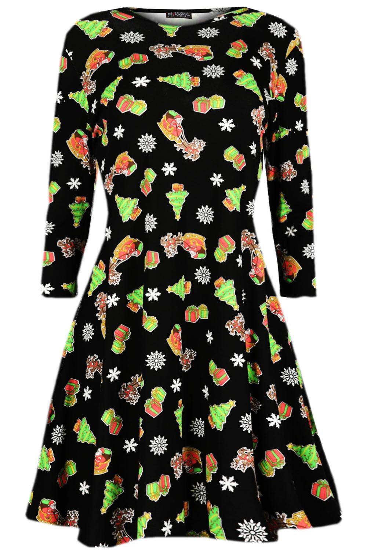 Women-Ladies-Kids-Girls-Xmas-Santa-Gifts-Christmas-Print-Skater-Mini-Swing-Dress thumbnail 30