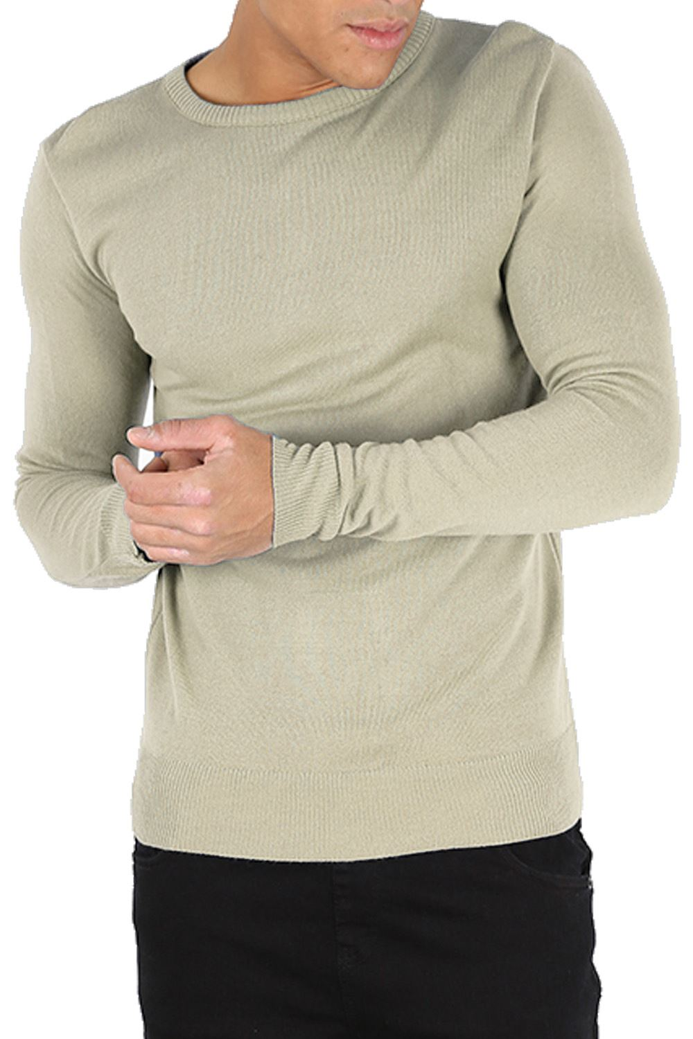 Mens Knitted Block Side Stripe Long Sleeve Pullover Stretchy Jumper Sweater Top