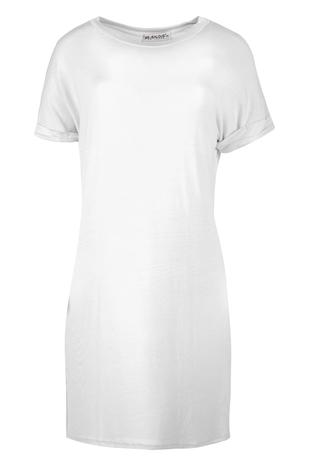 Womens-Curved-Hem-Round-Neck-Short-Sleeve-WIFEY-T-Shirt-Tunic-Oversized-Dress