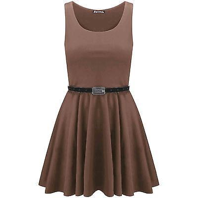 New-Womens-Ladies-Belted-Sleeveless-Franki-Flared-Party-Swing-Skater-Dress-Top thumbnail 25