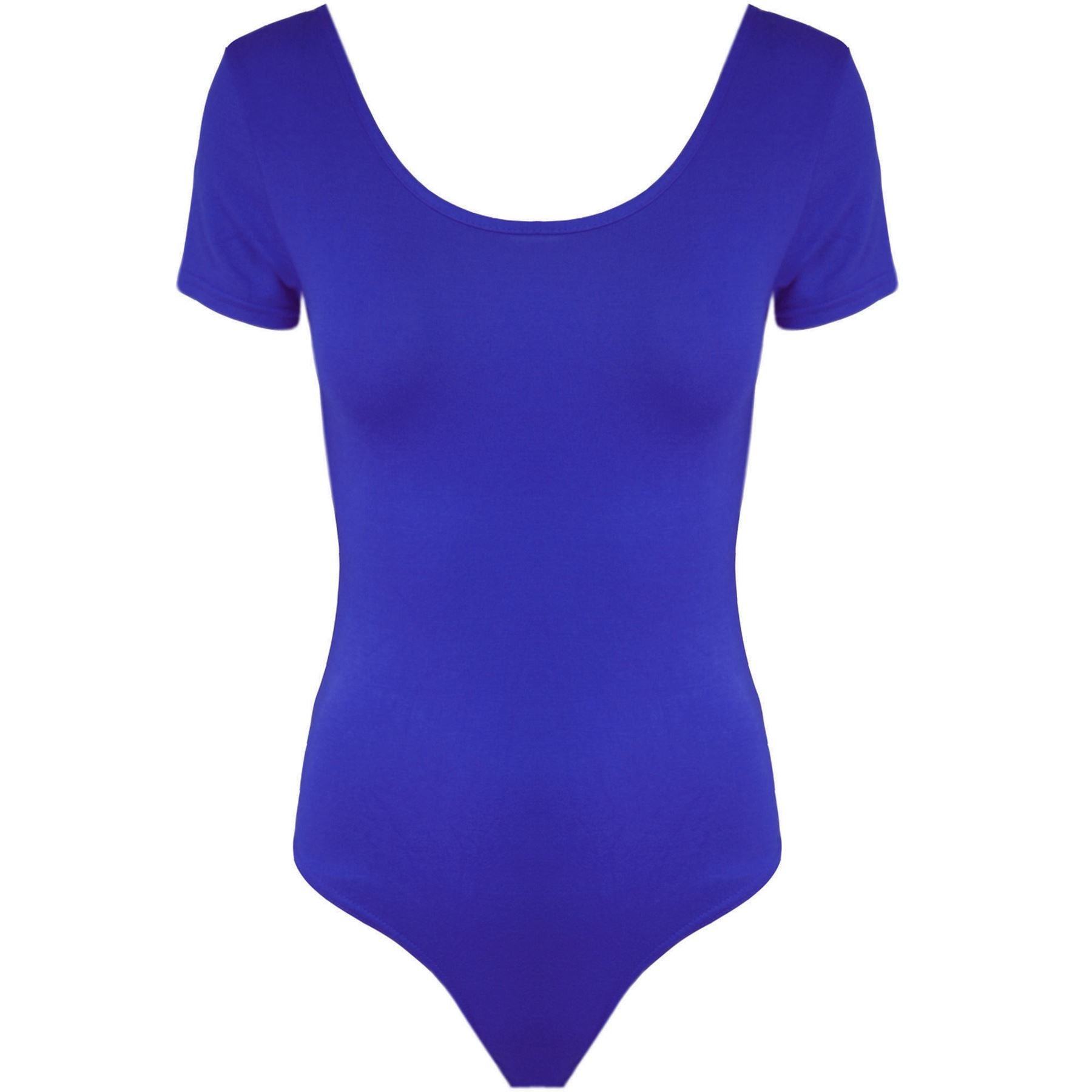 Womens-Ladies-Casual-Scoop-Neck-Short-Sleeve-Stretchy-Plain-Bodysuit-Leotard-Top