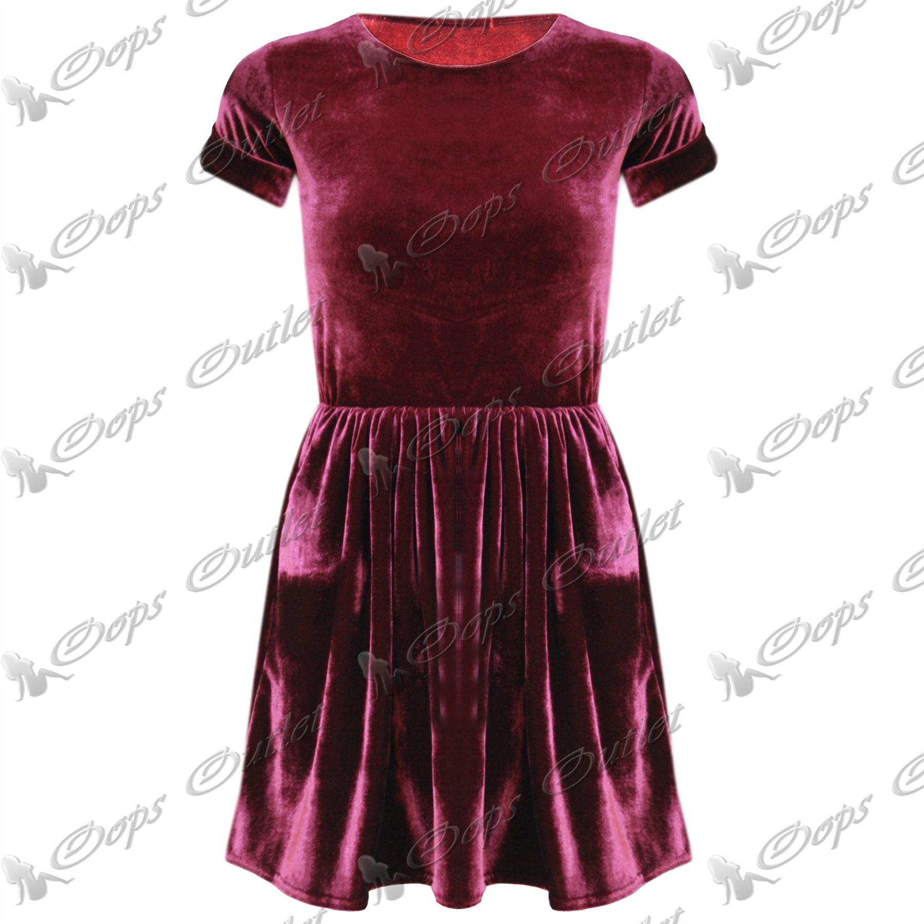 Womens-Velvet-Velour-Skirts-Dresses-Ladies-Cap-Sleeve-Shiny-Long-Sleeve-Tops