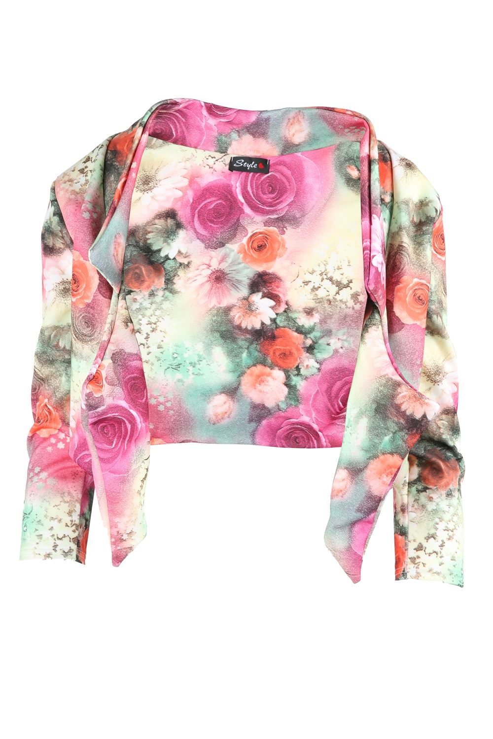 Womens-Casual-Floral-Print-Crop-3-4-Sleeve-Waterfall-Ladies-Blazers-Jackets-Coat