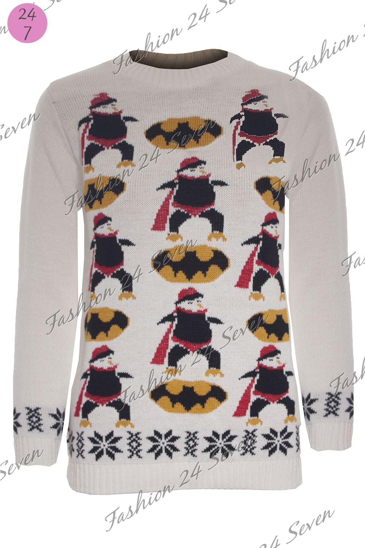 Unisex Boys Girls Batman Penguin Long Sleeve Christmas Jumper ...
