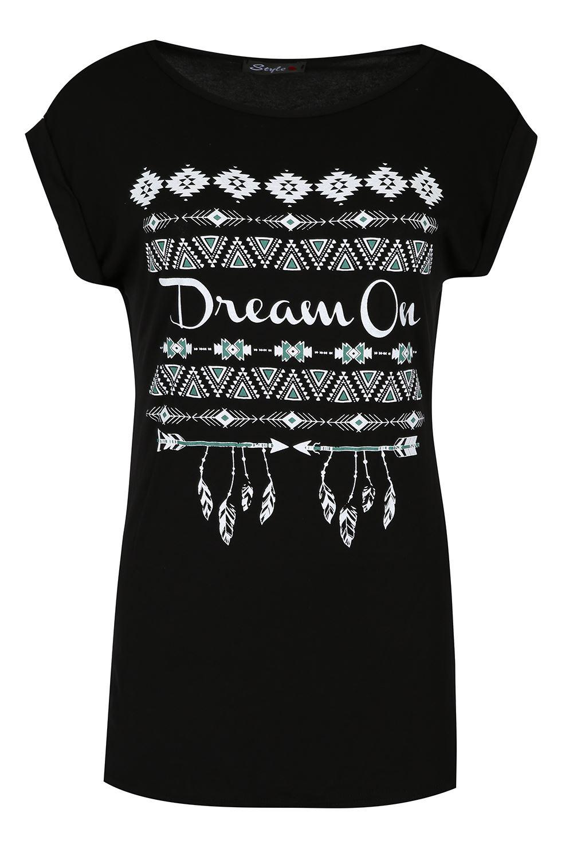Womens-Roll-Up-Cap-Sleeve-Top-Ladies-Stretch-Dream-on-Leaf-Aztec-Diamond-T-Shirt