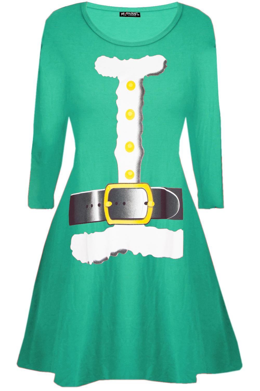 Kids-Girls-Christmas-Heart-Ribbon-Xmas-Santa-Father-Suit-Long-Sleeve-Swing-Dress