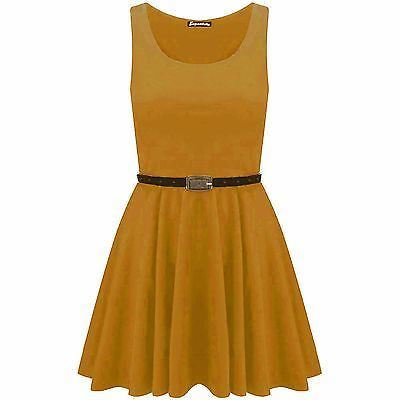 New-Womens-Ladies-Belted-Sleeveless-Franki-Flared-Party-Swing-Skater-Dress-Top thumbnail 18