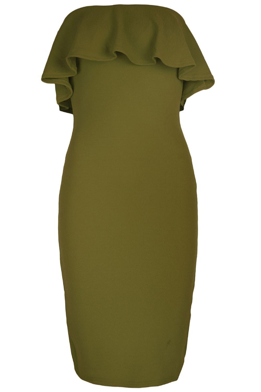 Womens-Boobtube-Off-Shoulder-Bardot-Back-Split-Peplum-Frill-Bodycon-Midi-Dress