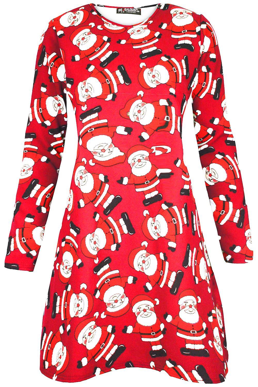 Women-Ladies-Kids-Girls-Xmas-Santa-Gifts-Christmas-Print-Skater-Mini-Swing-Dress thumbnail 13