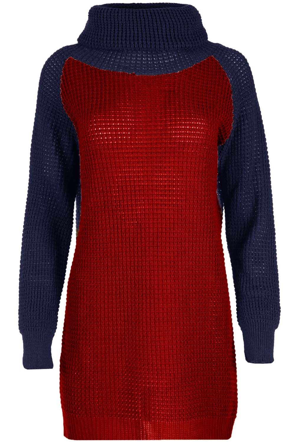 Ladies-Womens-Cowl-Neck-Baggy-Oversized-Chunky-Knit-Contrast-Sleeve-Jumper-Dress