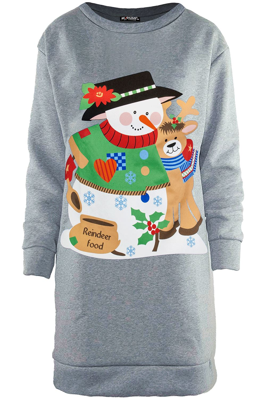 df93fb18f88 UK Womens Christmas Jumper Dress Santa Snowman Long Sleeve Ladies Mini  6-24 Swng