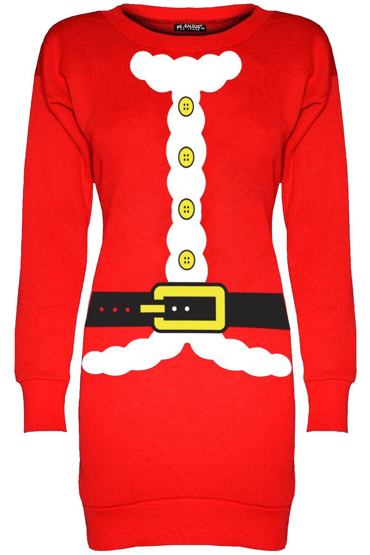Womens Ladies Christmas Fleece Snowman Tree Long Tunic