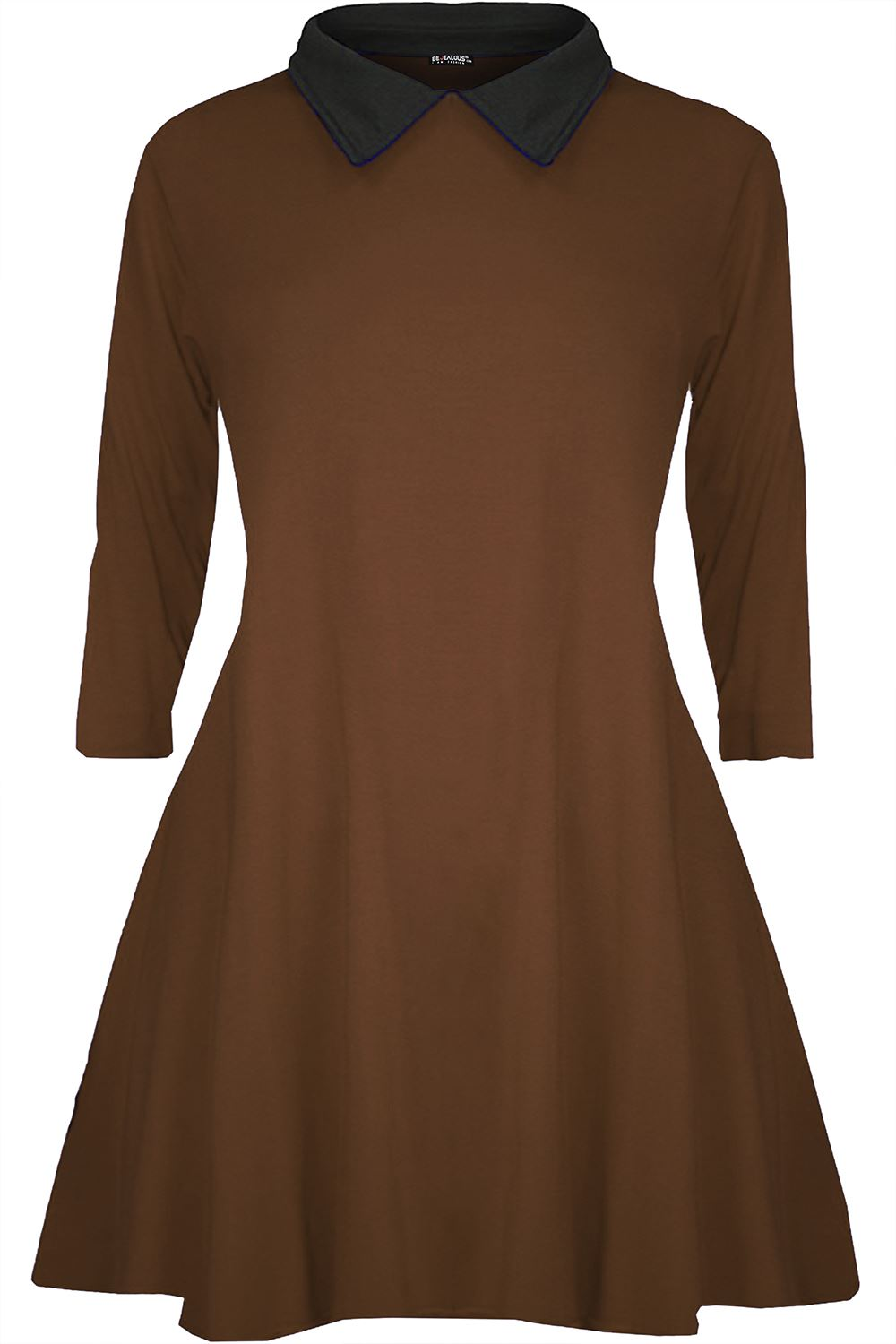 Details about Plus Size Ladies Womens Long Sleeve Peter Pan Collar Skater  Flared Swing Dress