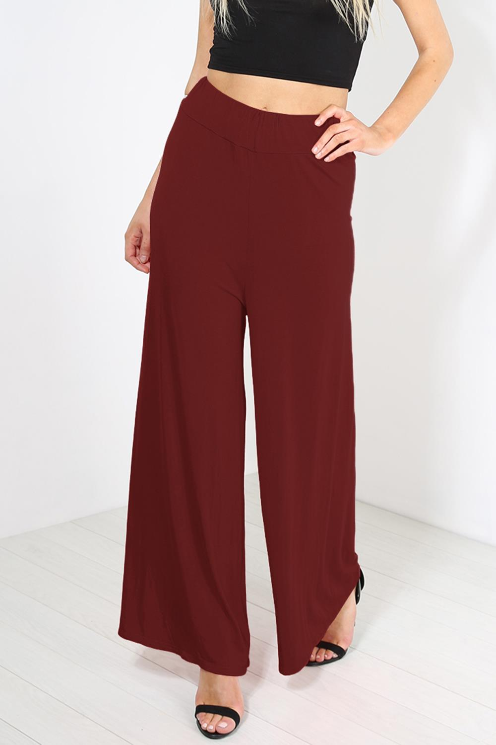 LADIES PLUS SIZE PLAIN PALAZZO WIDE LEG LADIES FLARED TROUSERS PANTS 8-26