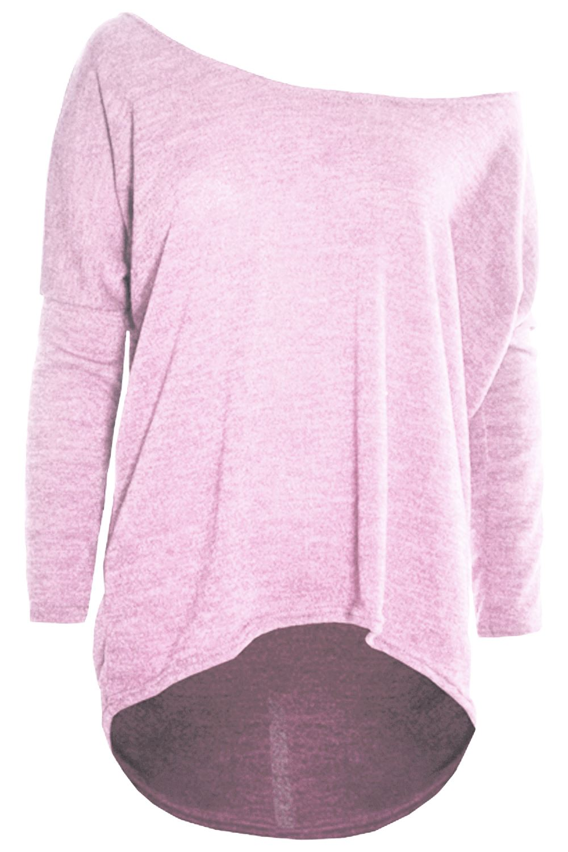 Womens-Jumper-Ladies-One-Off-Shoulder-Bardot-Knit-Lagenlook-Layering-Baggy-Top