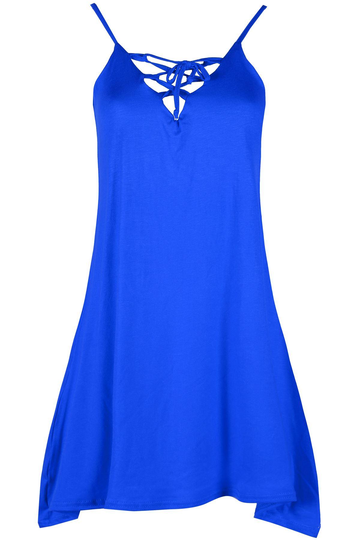 Ladies Sleeveless Camisole Swing Dress Floaty Flare