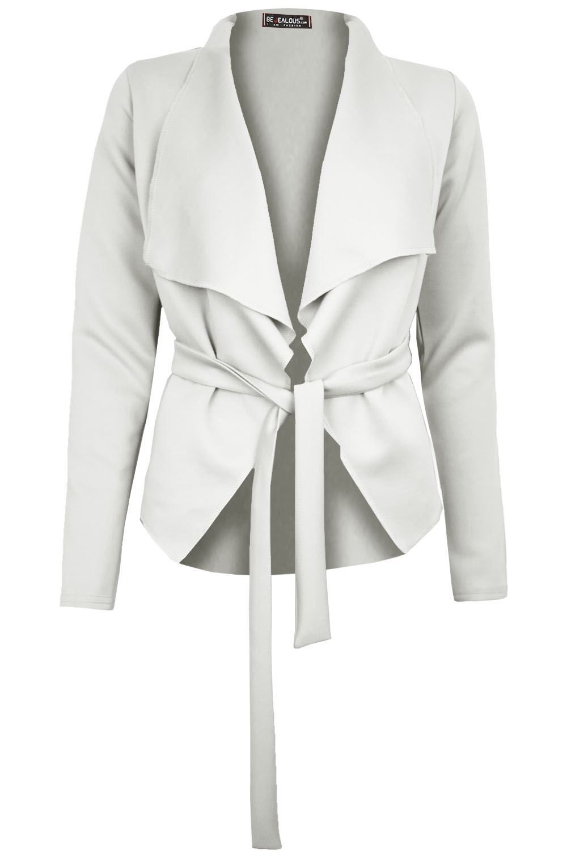 Da Donna Italiana Cape Blazer Long Sleeve Cravatta Nodo Cintura Cardigan A Cascata Giacca