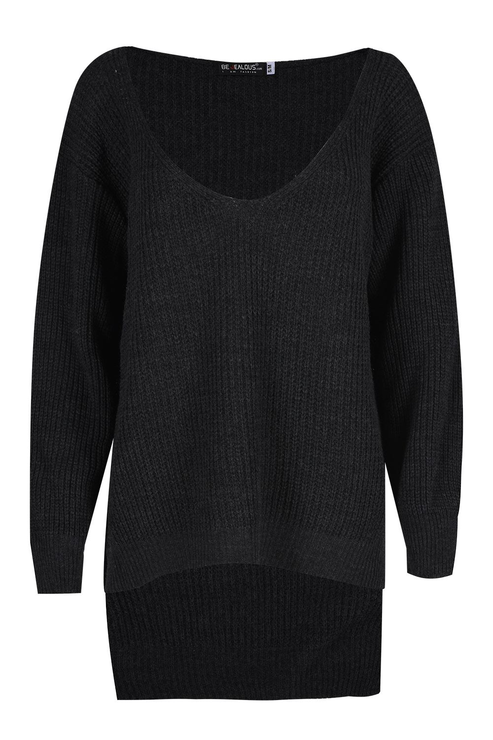 Ladies-Womens-Chunky-Knit-Oversized-Baggy-Long-Sleeve-V-Neck-High-Low-Jumper-Top