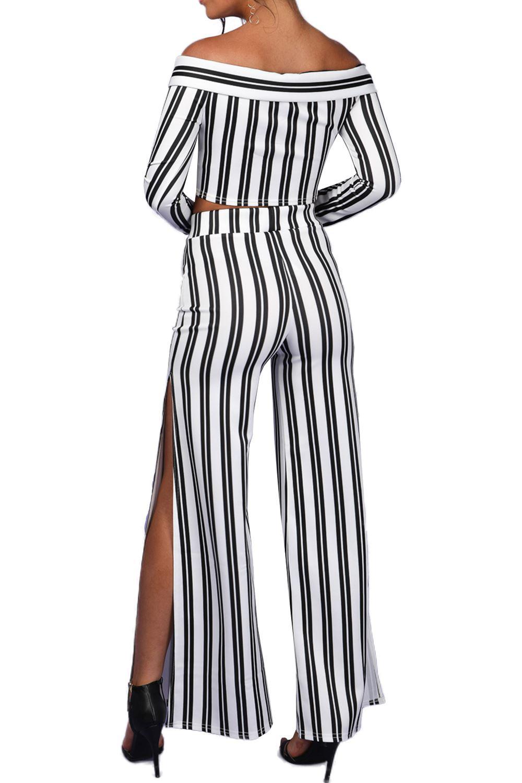 Womens-Ladies-Palazzo-Spilt-Wide-Leg-Off-Shoulder-Stripe-Tie-Bardot-Co-Ord-Set thumbnail 4