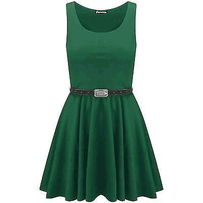 New-Womens-Ladies-Belted-Sleeveless-Franki-Flared-Party-Swing-Skater-Dress-Top thumbnail 14