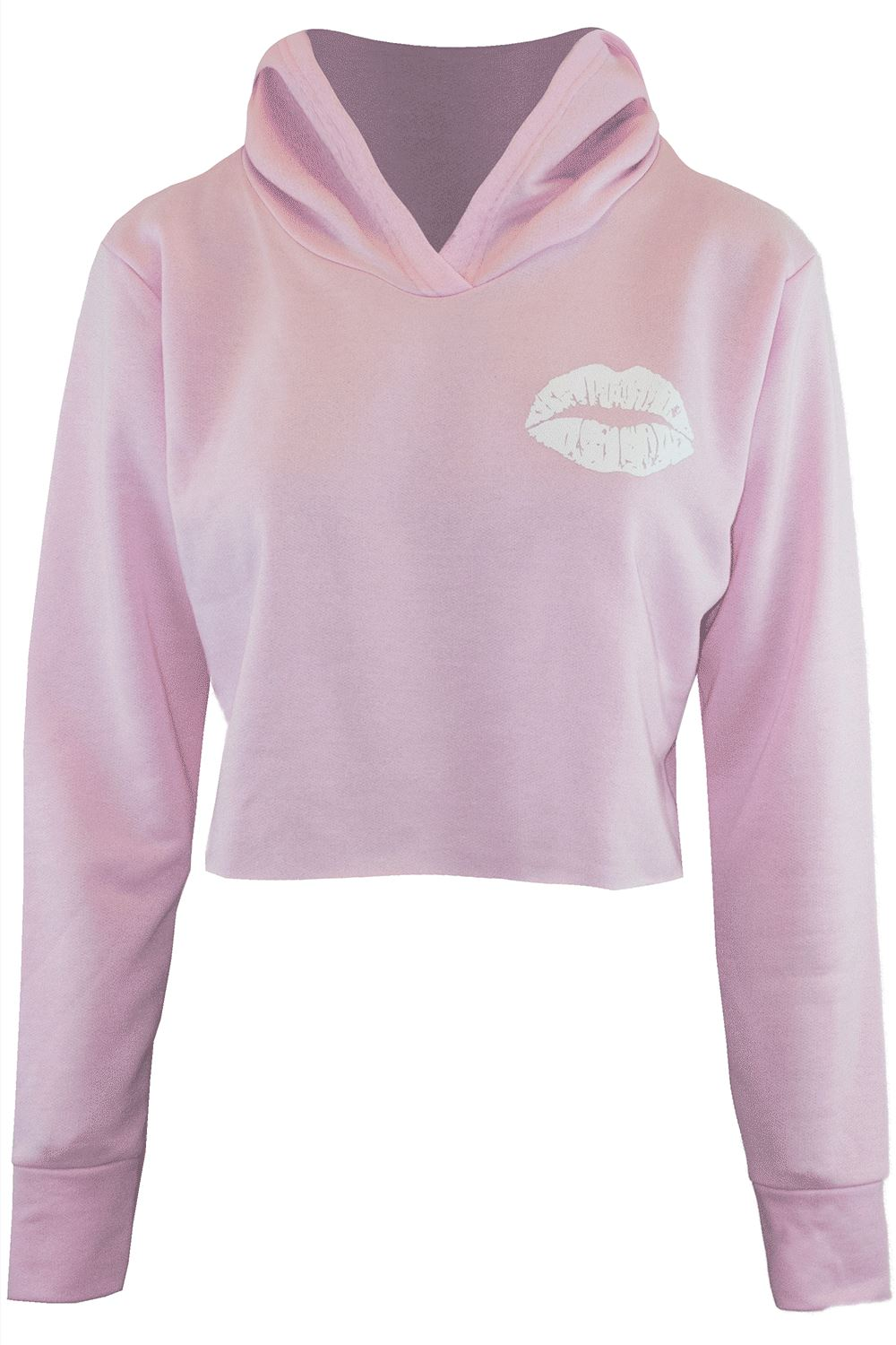 Womens Ladies Sweatshirt Cute Lips Hooded Fleece Oversized Long ... e8b945c7f