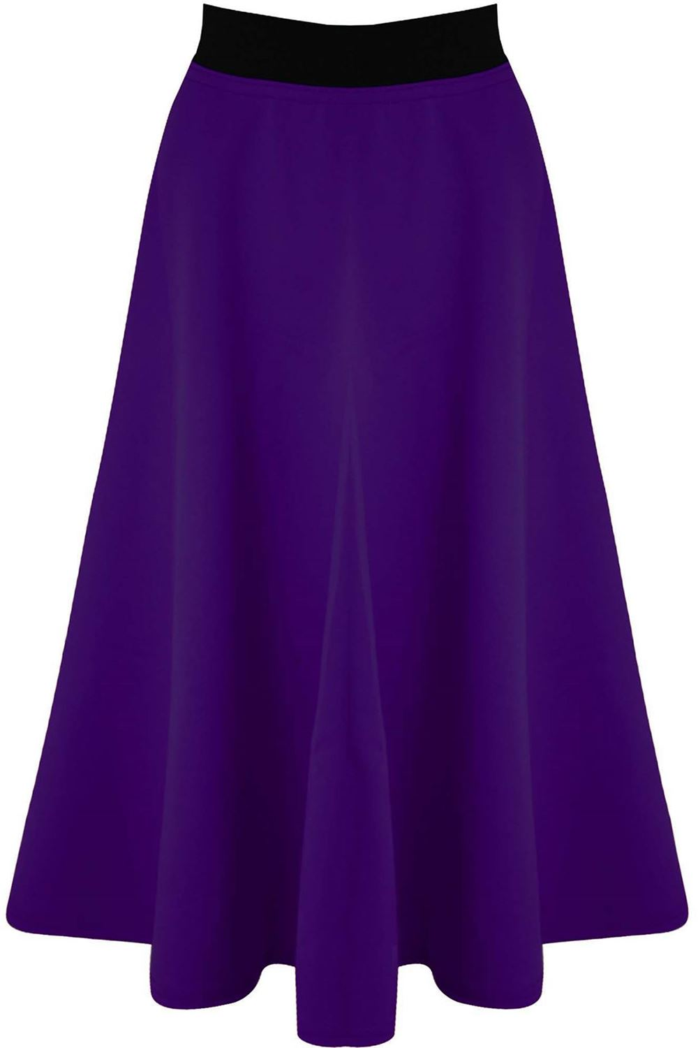 Plus-Size-Womens-Ladies-Mid-Length-Stretch-Flared-Skater-Swing-Long-Scuba-Skirt