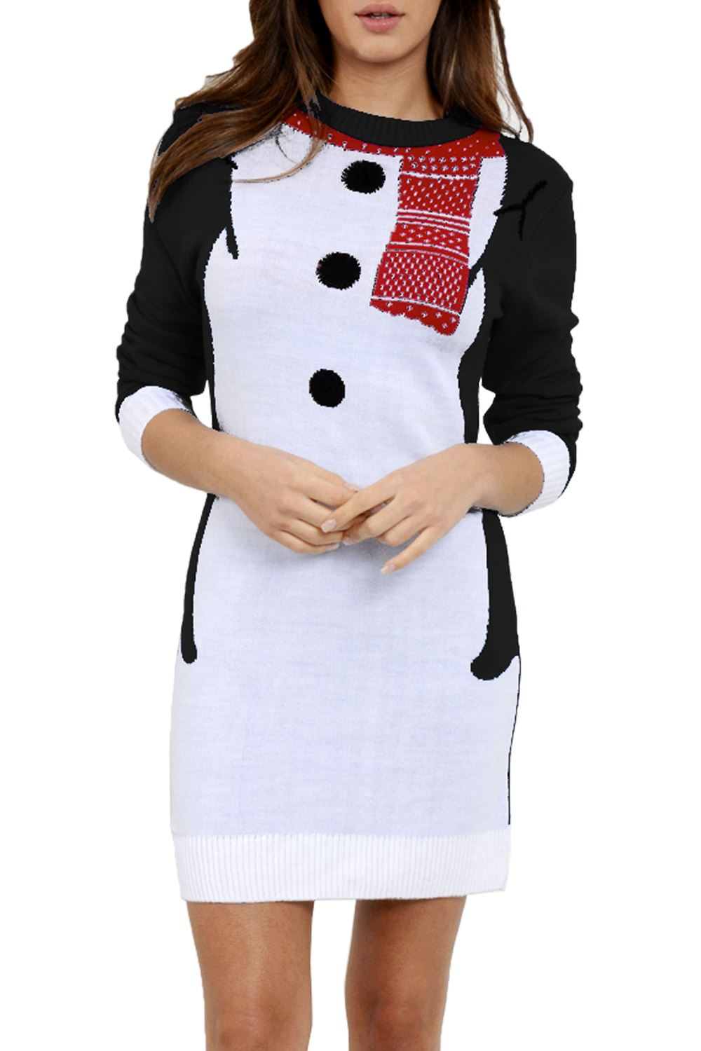 Womens Ladies Knitted Christmas Gingerbread Snowflakes Off Shoulder Snow Flakes Dress
