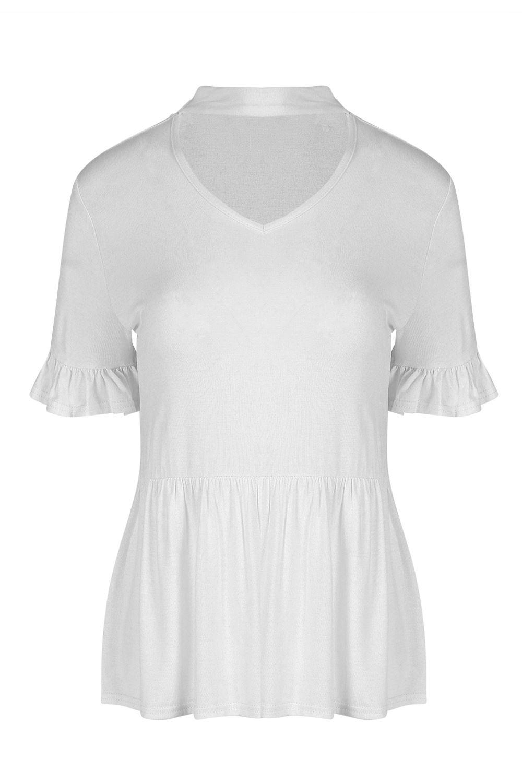 Womens-Ladies-Choker-Neck-V-Plunge-Peplum-Ruffle-Frill-Short-Sleeve-T-Shirt-Top