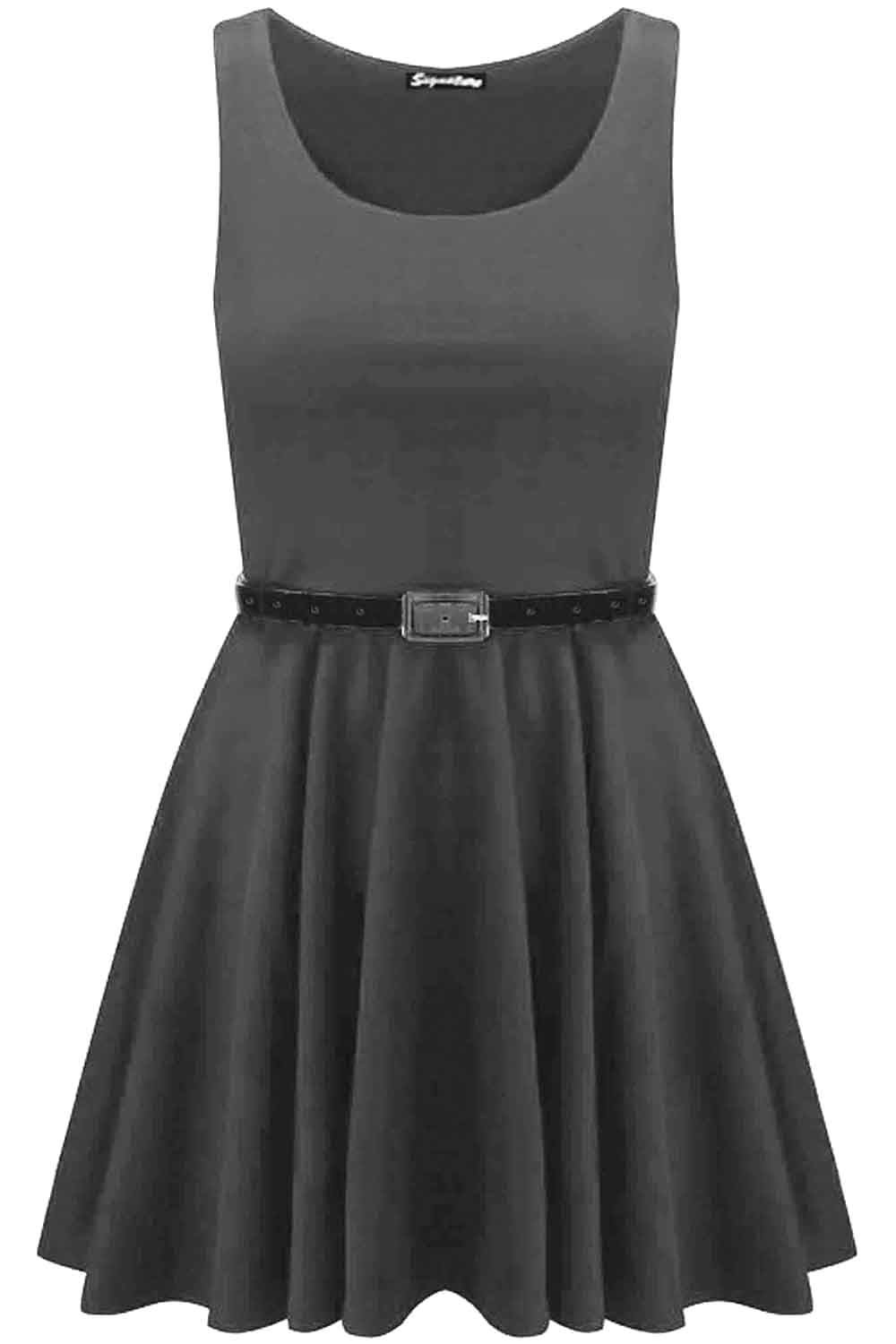New-Womens-Ladies-Belted-Sleeveless-Franki-Flared-Party-Swing-Skater-Dress-Top thumbnail 29
