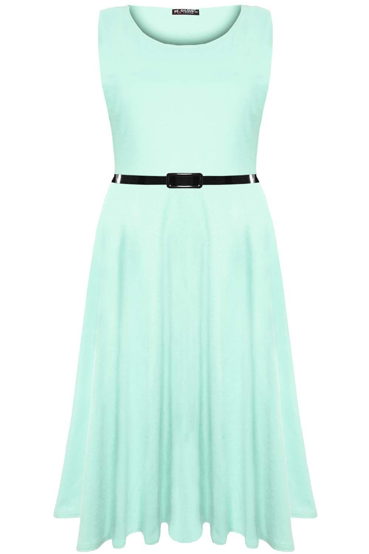 New-Womens-Skater-Dress-Ladies-Midi-Dress-Short-Sleeve-Waist-Lace-Flared-Franki