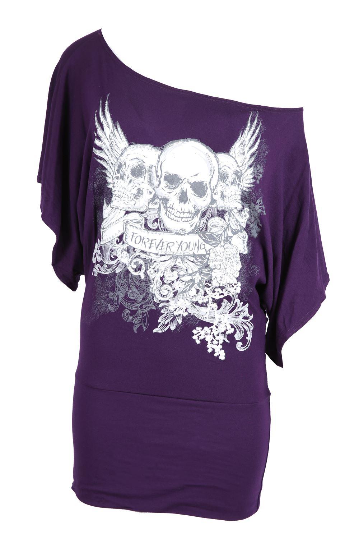 Femme Femmes Halloween Floral Crown Skull Baggy Surdimensionné chauve-souris Sequin Top